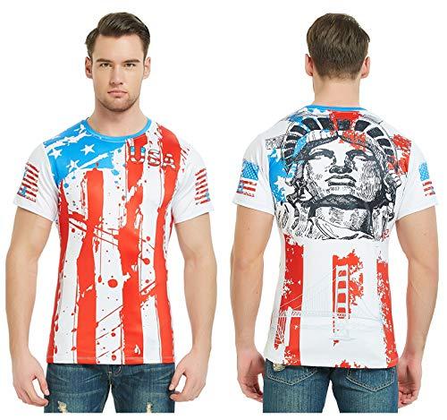 DAWILS Mens American Flag T-Shirt Patriotic Vintage Shirts Hipster Short Sleeve Hip Hop Tee Shirt (X-Large, American Flag 5)