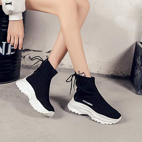 Calcetines Deportivo Señoras Caminata Casual Lucdespo de Hip Estudiantes Hop Zapatos de Marea Botas Calzado Alta Estilo negro BEwwdqz