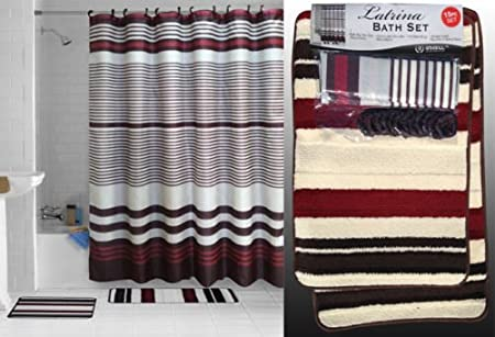 15Pc Shower Curtain Set Shower Curtain Towel Set Contour Mat With Hooks Burgundy