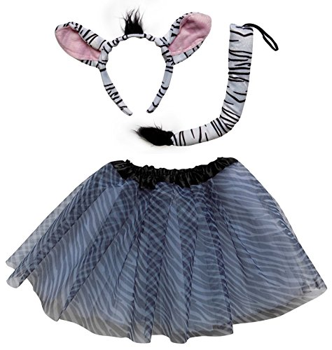 So Sydney Kids Teen Adult Plus Tutu Skirt, Ears, Tail Headband Costume Halloween Outfit (L (Adult Size), Zebra Black & White)]()