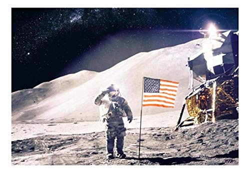 Man on the Moon with the American Flag Wall Mural