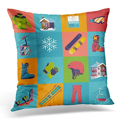 Duplins Cool Winter Sports on Skiing and Snowboarding Featuring Boots Goggles Chairlift Mountain Lodge Building Decorative Pillow Cover 16x16 Inches Throw Pillow Case Square Home Decor ()