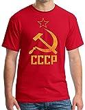 CCCP SOVIET RUSSIA Distressed Communism USSR Hammer Sickle Adult T-shirt - Red, XL