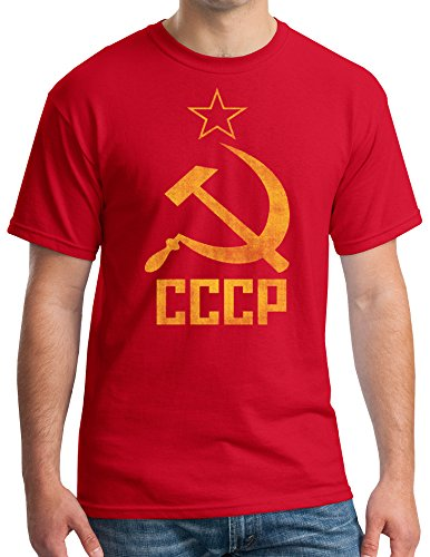 (CCCP SOVIET RUSSIA Distressed Communism USSR Hammer Sickle Adult T-shirt - Red, Large)