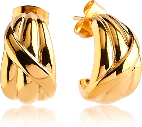 (Thick J-Hoop Twisted Earrings Gold Tone with Gift Box)