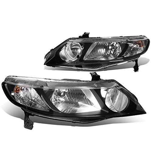 - For Honda Civic Sedan Pair of Black Housing Clear Corner Headlight - 8th Gen