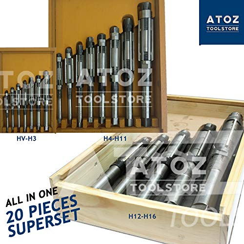Chamfer Tool Pilots - ATOZ.Toolstore HV - H17 Expanding Adjustable Hand Reamer Tool Sets (8/A-N) + Extension Pilots Cutters (HV-H16 (8/A-M) [6-56mm] + Box)