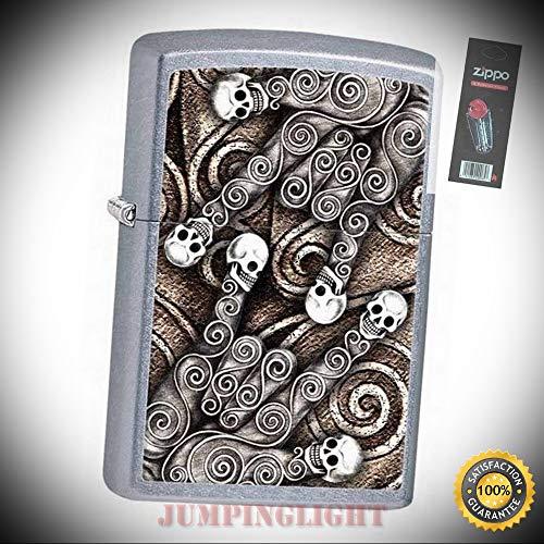 28869 Skulls Rock on Street Chrome Finish Full Size Lighter with Flint Pack - Premium Lighter Fluid (Comes Unfilled) - Made in USA! ()