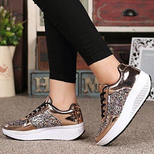 Plateau LILY999 Sportschuhe Sneaker Gold Leichte Fitnessschuhe up Shape Freizeitschuhe Bequeme Damen Laufschuhe Keilabsatz qqrR1wE