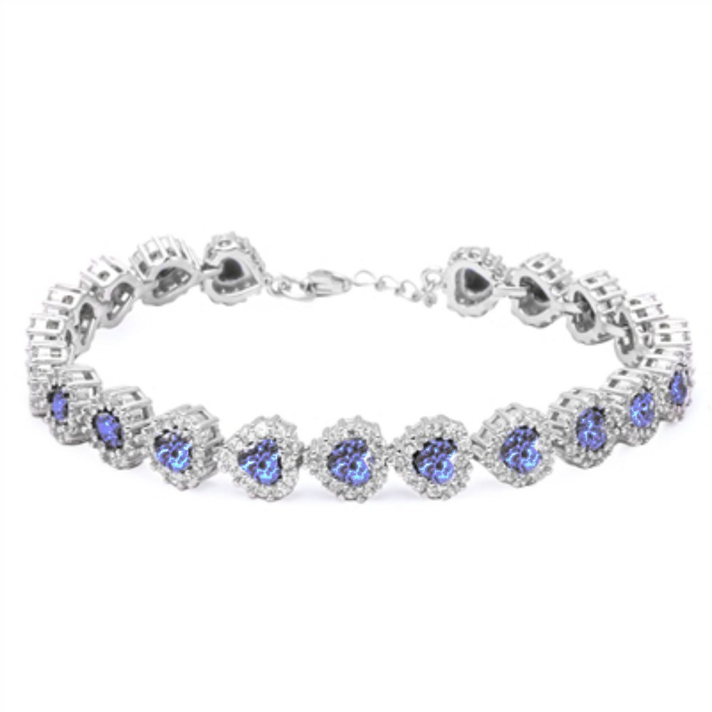Heart Tennis Bracelet Heart Shape Simulated Blue Tanzanite Round White CZ Solid 925 Sterling Silver 8''