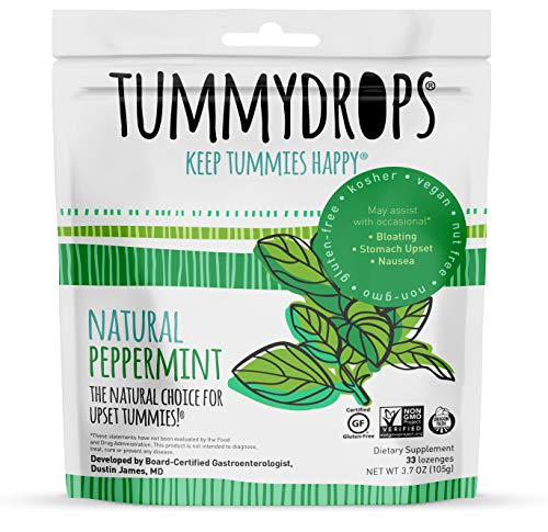 Natural Peppermint Tummydrops (Resealable Bag of 33 Individually Wrapped Drops) Certified Oregon Tilth Made with Organic Ingredients, Non-GMO Project, GFCO Gluten-Free, and Kof-K Kosher