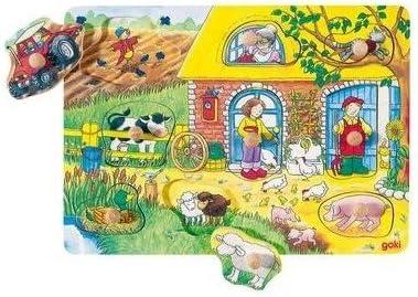 Goki Juego de mesa PUZZLE DE MADERA 9 piezas Modelo GRANJA 21,5 x 30 cm Niños + 2 años: Amazon.es: Juguetes y juegos