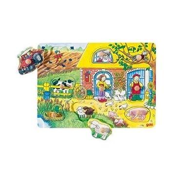 Goki Juego de mesa PUZZLE DE MADERA 9 piezas Modelo GRANJA 21,5 x ...