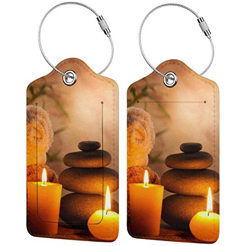 Zen Stone Spa Still Life With Aromatic Candles Luggage Tag Label Travel Bag Label With Privacy Cover Luggage Tag Leather Personalized Suitcase Tag Travel Accessories ()