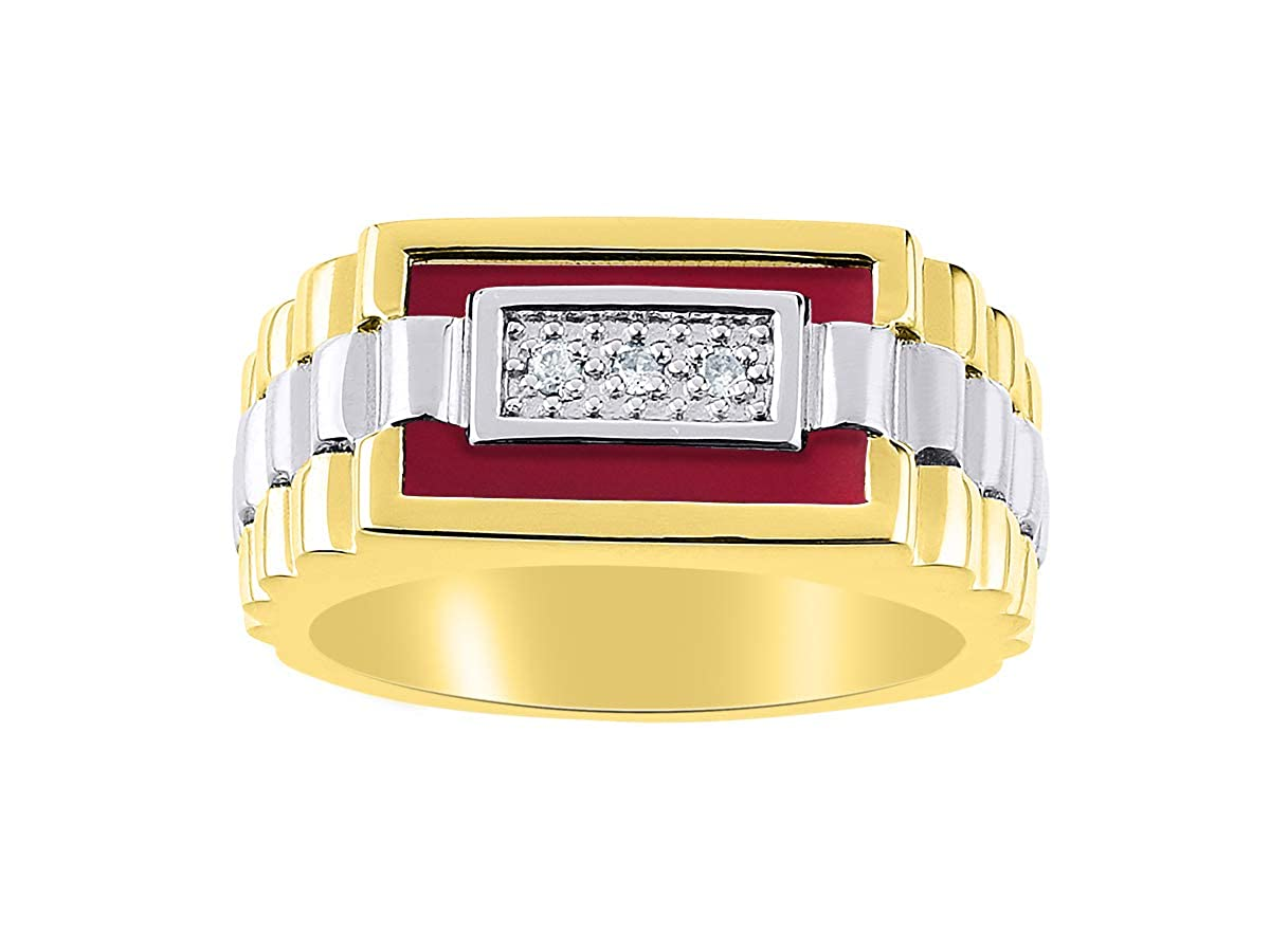 RYLOS Designer Ring With Diamonds and Red Quartz Set in Yellow Gold Plated Silver .925