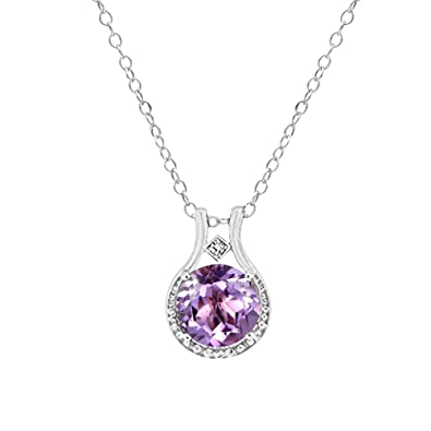 Amazon 300 ctw amethyst and diamond halo pendant necklace in 300 ctw amethyst and diamond halo pendant necklace in sterling silver 18 aloadofball Gallery