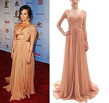 Amazon.com : Elegant V Neck Chiffon Long Demi Lovato Dress Celebrity ...