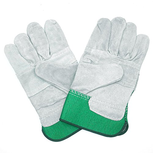 Cowhide Work Gloves Green, Leather Garden Gloves for Men & Women, Waterproof Protective Gloves for Gardening, Woodworking and General Maintenance - 1 pair JH