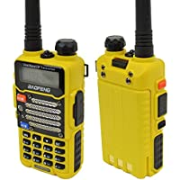 Baofeng Yellow UV-5R V2+ (USA Warranty) Dual-Band 136-174/400-480 MHz FM Ham Two-way Radio, Improved Stronger Case, Enhanced Features (Certified Refurbished)