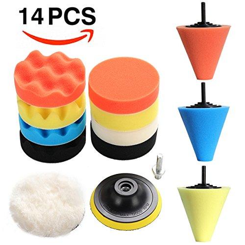 EKADA 14pcs 2 in 1 Car Polishing Pad kit, 4
