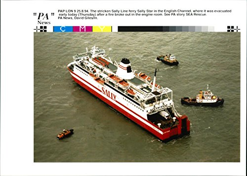 Vintage photo of The stricken Sally Line ferry Sally Star in the English Channel, where it was evacuated early today (Thursday) after a fire broke out in the engine room.