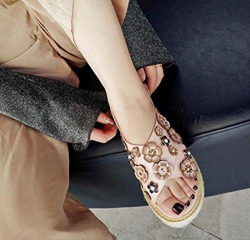 Romano Mujeres Verano Rosado de de Tacón Sandalias Las de Cuña Estilo Hebilla Flores de Zapatos de Remache de Sandalias Ew1ZTUqS