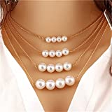 Dolland Women Elegant Jewelry Multi Layer Pearl Necklace Metal Imitation Pearls Jewelry