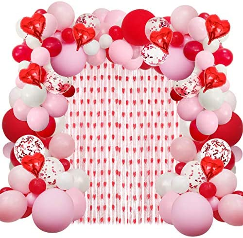 Valentines Day Balloons Garland Arch Party Decorations,Pink White Red Heart Balloons for Valentine's Day Wedding Engagement Party Supplies