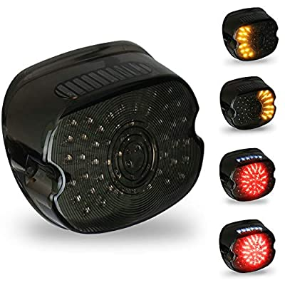 OVOTOR Smoked Harley LED Tail Light Lay Down Tail Lamp with Braking Turn Signal for Sportster DynaFXDL Electra Glides Road King: Automotive