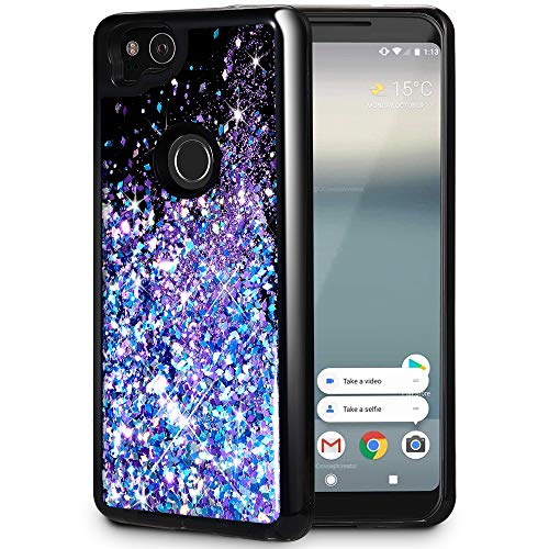 (Caka Google Pixel 2 Case, Google Pixel 2 Glitter Case Starry Night Series Luxury Fashion Bling Flowing Liquid Floating Sparkle Glitter Girly Soft TPU Black Case for Google Pixel 2 - (Blue Purple))