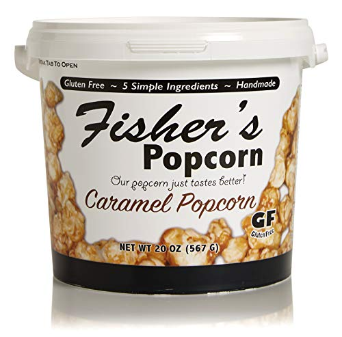 Fisher's Popcorn Caramel Popcorn, Gluten Free, 5 Simple Ingredients, Handmade, No Preservatives, No High Fructose Corn Syrup, Zero Trans Fat, 20oz Tub (1 Gallon)