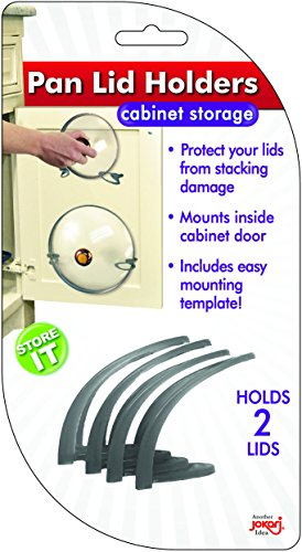 Lid Holder, Pot, Pan & Dish Lids - Fully Adjustable Wall Mount Design Organizes Tops on The Back of Any Cabinet Doors, Best Storage Solution for all Dish Covers in Your Kitchen 2 Pack Holds 2 Lids
