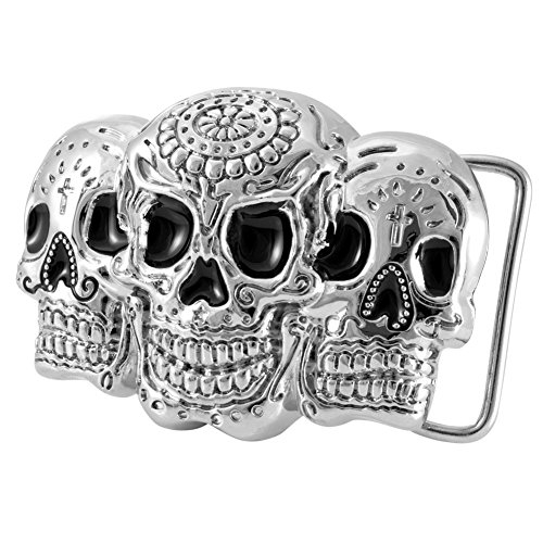 Buckle Rage Adult Mens Three Sugar Skull Mayan Dia De Muertos Belt Buckle Silver