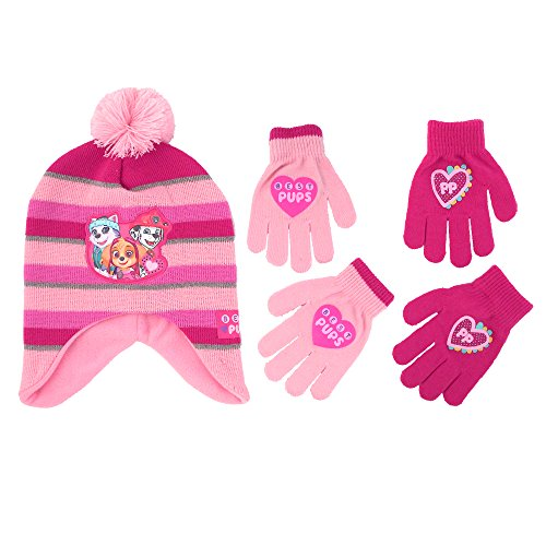 Patrol Mitten (Nickelodeon Little Girls Paw Patrol Character Hat and 2 Pair Mittens or Gloves Cold Weather Set, Age 2-7 (Little Girls Age 4-7 Hat & 2 Pair Gloves Set, Light Pink/Dark Pink))