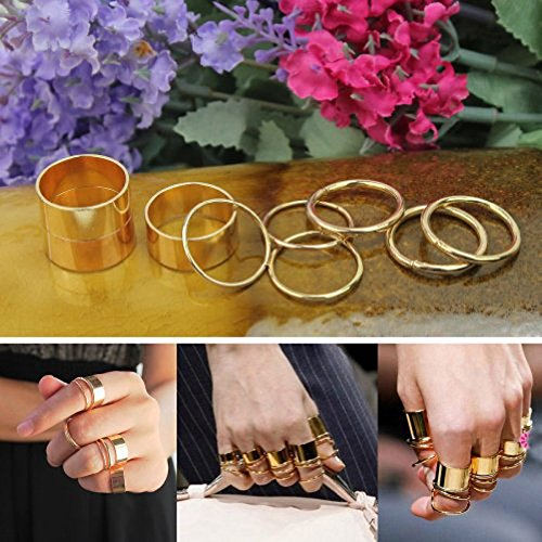 Price comparison product image ArMordy(TM)9pcs/Lot Gold Stack Plain Band Above MIDI Knuckle Rings Tip Rings Set Snow