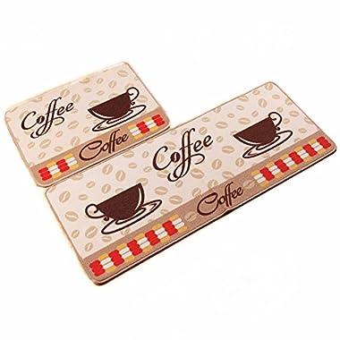 Ustide 2-Piece Kitchen Rugs Coffee Cup Design Doormat Unique Room Floor Mats