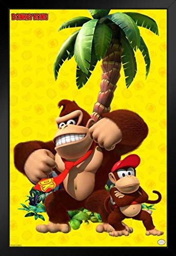 Pyramid America Donkey Kong and Diddy Kong Beating Chest Nintendo Framed Poster 12x18 inch ()