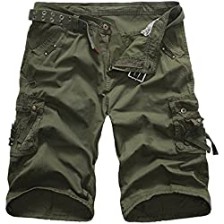 Men's Casual Multi Pocket Cargo Shorts (36, ArmyG#2)