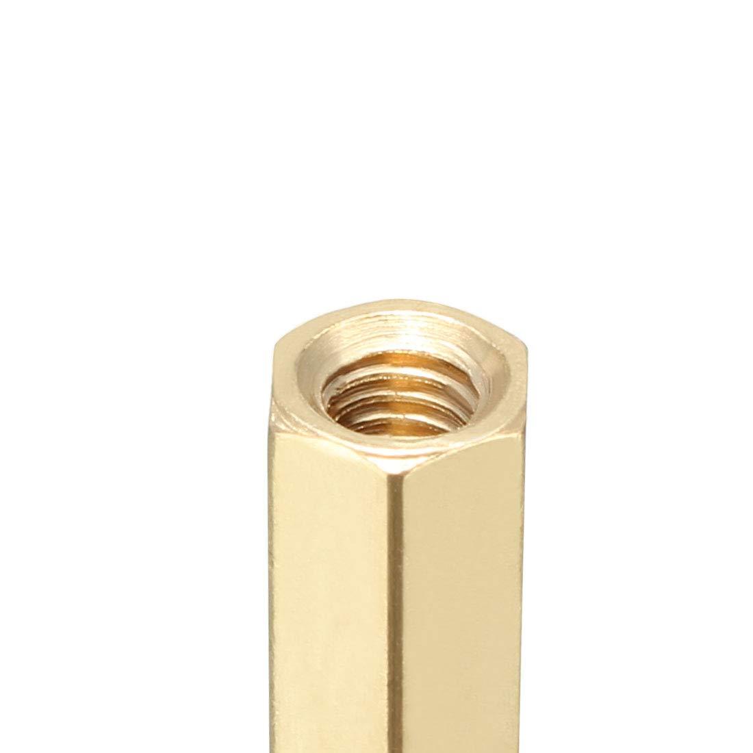uxcell 10pcs Brass Straight PCB Pillar Female Thread Hex Standoff Spacer M4x6x15mm