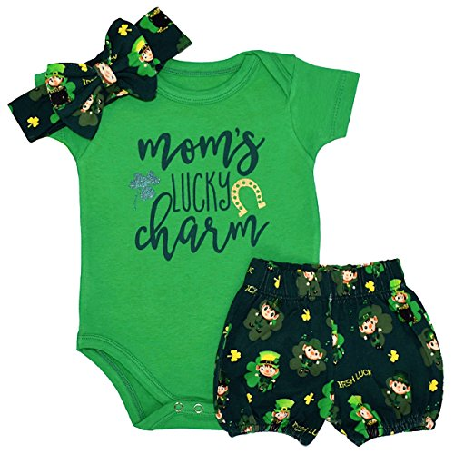 St Patricks Day Baby Shower - Unique Baby Girls 1st ST Patricks Day Moms Lucky Charm Layette Set (9 Months)