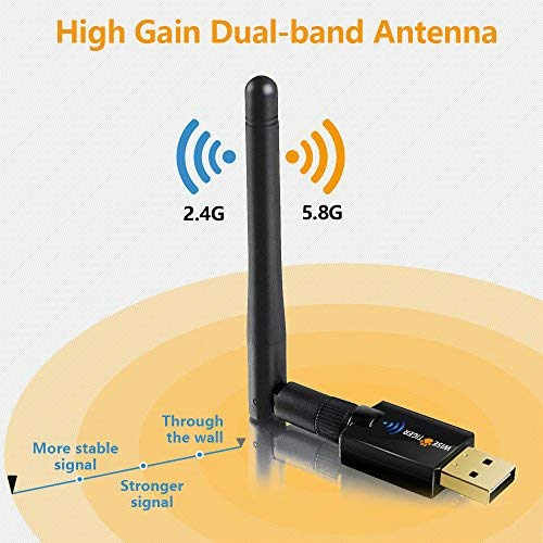 Wifi Adapter Ac 600Mbps Dual Band 5Ghz / 2.4Ghz Long Range Wireless Adapter with Antenna Support for Win Vista /7/8/8.1/10/XP/MAC10.5 -10.12 – Install Fast , Just 3 Minutes
