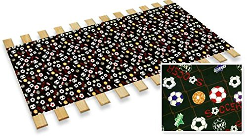 Full Size Custom Bed Slats With Soccer Themed Fabric-Help Support Your Box Spring and Mattress by The Furniture Cove