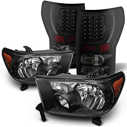 Toyota Sequoia Tail Lamp - For 07-13 Toyota Tundra Black Bezel Headlight + Black Smoked LED Tail Brake Light Lamp Combo