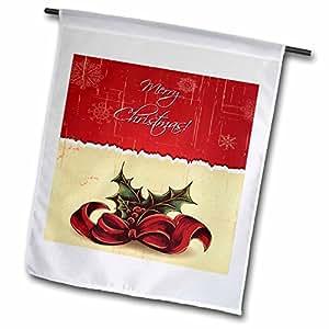 3dRose Anne Marie Baugh Navidad–Pretty rojo y beige dos tonos diseño de Navidad con cinta de Mistle puntera y dice feliz Navidad–banderas