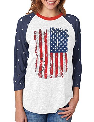 USA Distressed Flag 4th July | American Patriot 3/4 Women Sleeve Baseball Jersey Shirt Small Stars