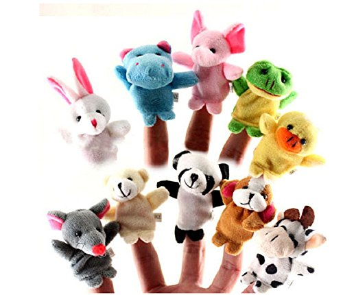Old Guys Muppet Costume (10Pcs Family Finger Puppets Cloth Doll Baby Educational Hand Cartoon Animal)