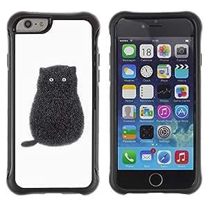 LASTONE PHONE CASE / Suave Silicona Caso Carcasa de Caucho Funda para Apple Iphone 6 / Black Pen Art Minimalist Kitten White
