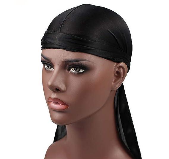 Hip-hop Tone Men Silky Durag Cap Headwrap Long Tail 360 Waves Du-rag ... 0dc738064a14