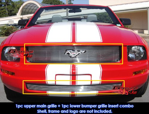 05-09 Ford Mustang V6 Billet Grille Grill Combo Upper+Bumper Insert # F67810A hot sale