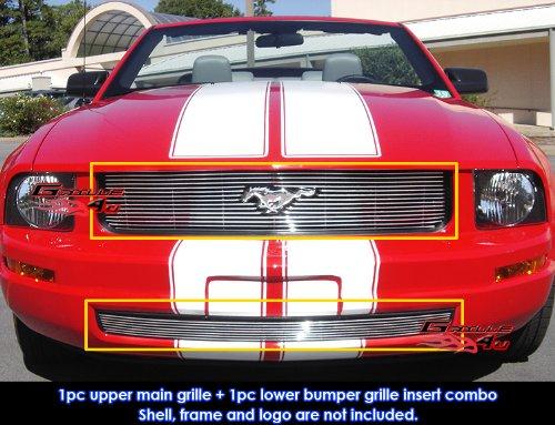 APS Fits 05-09 Ford Mustang V6 Billet Grille Combo Upper+Lower Bumper (Mustang Upper Grille)